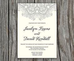 Romantic Lace Kristin Printable Wedding Invitation - DIY Invitation - Custom colors