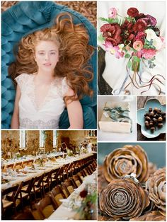 Autumn Teal and Cranberry Wedding Mood Board