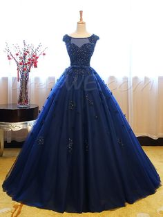 Buy Dark Blue Tulle Lace Beads Ball Gown Open Back Sweet 16 Dress, Quinceanera Dresses uk in uk.Shop our beautiful collection of unique and convertible long Prom dresses from PromDress.uk,offers long bridesmaid dresses for women in the UK. Prom Dresses Uk, Quince Dresses, Ball Gown Dresses, Pretty Dresses, Blue Quinceanera Dresses, Prom Gowns, Quinceanera Party, Elegant Dresses, Dresses Online