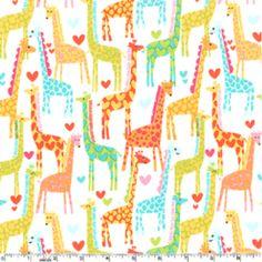 Michael Miller House Designer - Sorbet - Giraffe Love in White