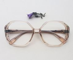 c25e5943ba7 70s French oversized eyeglasses   Vintage deadstock hand carved floral  frames   lucite hand painted leaves sunglasses   Hippie NOS Eyewear