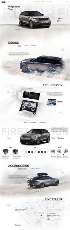 Range rover Velar landing page website design web minimalism future car auto adaptive mobile