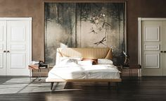 Fabulous Upholstered bed covered in leather from Cattelan Italia