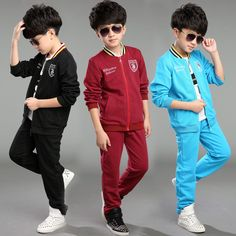 (Buy here: http://appdeal.ru/3c1h ) Kids Baby Sport Suit Boys Long Sleeve Jacket + Pants Boys Casual Clothes Children Clothing Set Kids Cotton Tracksuit for just US $34.09