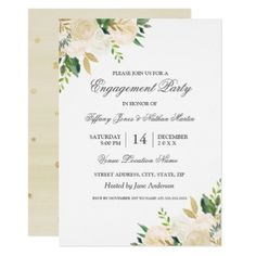 Elegant Gold Floral Watercolor Engagement Party Card - wedding invitations cards custom invitation card design marriage party