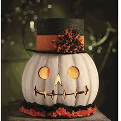 add a hat & colorful collar beneath white carved pumpkin ~Dishfunctional Designs ~ Decorating With Unusual Pumpkins For Halloween - photo inspiration Boo Halloween, Holidays Halloween, Halloween Treats, Vintage Halloween, Halloween Pumpkins, Happy Halloween, Halloween Decorations, Autumn Decorations, Halloween Labels