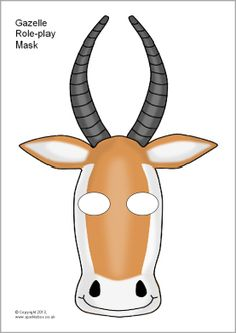 Gazelle Role-Play Mask Template (Color or Black & White) Craft / Art Project - Great for Pre-K Complete Preschool Curriculum's Zoo theme! Repinned by Pre-K Complete - follow us on our blog, FB, Twitter, & Google Plus!