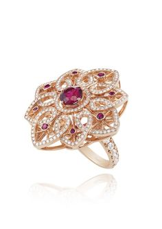Chopard Ring - A FINE RUBELLITE AND DIAMOND 'BYZANTINE' SET
