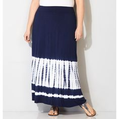 Avenue Plus Size Tie Dye Border Maxi Skirt ($30) ❤ liked on Polyvore featuring skirts, midnight blue, plus size, long maxi skirts, plus size maxi skirt, striped maxi skirt, tie dye long skirts and long striped maxi skirts