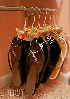 Shoe Hangers Use the Hangers with the cardboard at the bottom. The ones from the cleaners for pants. they already have a bend in them.