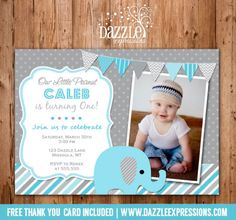 Printable Blue and Gray Elephant Birthday Invitation | Photo Invite | Boy First Birthday Party Idea | FREE Thank You Card Included | Matching Printable Party Package Decorations Available! www.dazzleexpressions.com