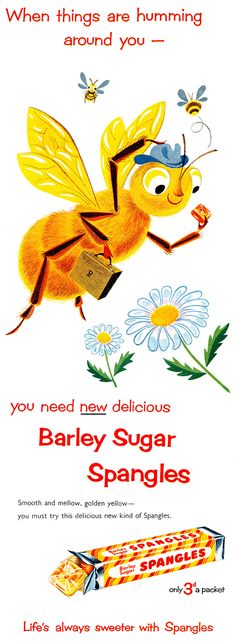 1954 Barley Sugar Spangles mid-century vintage ad
