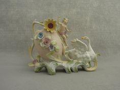 Swan+and+Child+Figural+Vase+Planter+Floral+Lovely