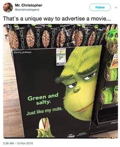 The Grinch Poster Parodies are series of photoshopped promotional posters for the 2018 animated feature film Dr. Seuss' The Grinch, memes The Grinch Crazy Funny Memes, Really Funny Memes, Stupid Funny Memes, Funny Relatable Memes, Funny Posts, Haha Funny, Funny Quotes, Funny Stuff, Random Stuff