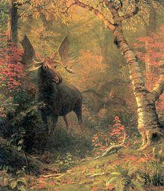 Moose in a Forest Glen oil Albert Bierstadt. Wildlife Paintings, Wildlife Art, Landscape Art, Landscape Paintings, Oil Paintings, Landscapes, Albert Bierstadt Paintings, Hudson River School Paintings, Carl Spitzweg