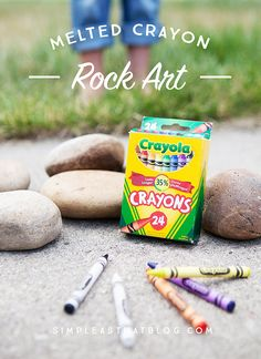 MOM Tip: Melted Crayon Rock Art #247moms