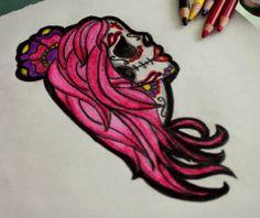 Skull girl tattoo #cute #pink #katrina