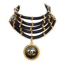 Chanel Vintage '89 Black & Gold Multi-Strand Choker Necklace