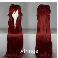 Black Butler Cosplay Wig Grell Sutcliff Cosplay Wig Long Dark Red Wig Red Anime Cosplay Costume    Thinking of being Grell for Halloween lol