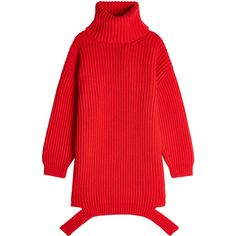 Balenciaga Deconstructed Virgin Wool Turtleneck Pullover (€898) ❤ liked on Polyvore featuring tops, sweaters, red, turtle neck sweater, red pullover, red turtleneck top, turtleneck top and red sweater