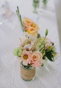 Yarn wrapped jars + a touch of wheat + pastel colour palette = <3