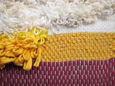 #fuzzy #fuzz #handmade #weaving #woven #cotton #rya #loops #wool #unique #gift #red #yellow #white