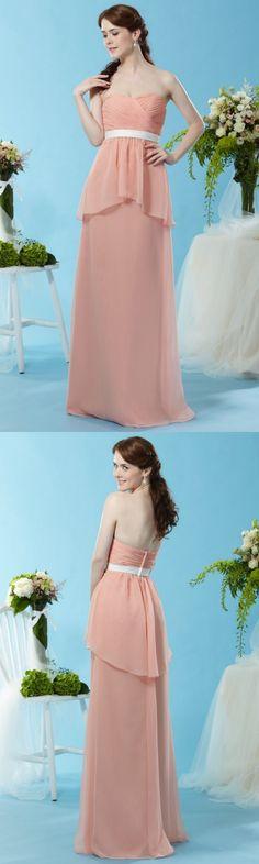 Blush Bridesmaid Dresses, Wedding Dresses, White Belt, Coral Pink, Overlays, Bodice, Peplum, Chiffon, Floor