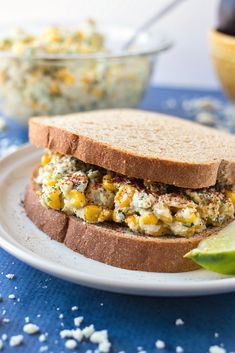 Mexican Street Corn Chicken Salad - All the flavors of Mexican Street Corn are mixed with chopped chicken breast and Greek yogurt to make a flavorful chicken salad that can be eaten as a sandwich or by itself. Greek Recipes, Meat Recipes, Crockpot Recipes, Chicken Recipes, Dinner Recipes, Corn Chicken, Greek Chicken, Chicken Gyros, Chicken Salad