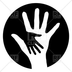Mother and child hand silhouettes, download royalty-free vector clipart (EPS)
