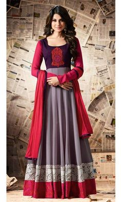 Grey and Purple Party Wear Anarkali Suit