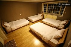 Dormitory Room: Dormitory rooms come with various numbers of single beds.
