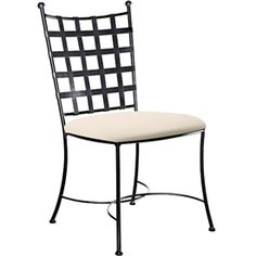Wrought Iron Etrusche Side Chair by Charleston Forge. Different metal finish options. Upholstery in fabric/leather.