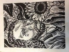 My new linoleum print of Van Gogh