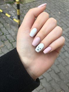 #bear #nails #matte #pink #white #cute