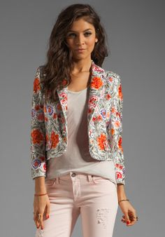ALICE + OLIVIA Vanda Embroidered Cropped Jacket in Multi at Revolve Clothing - Free Shipping!