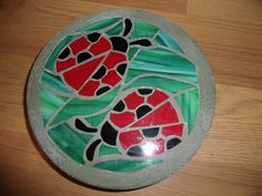 """Small Ladybug Friends - 8"""" Round Handmade Stained Glass and Concrete Stepping Stone"""