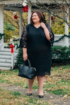 What to wear to a holiday party - plus size dress idea : What to wear to a holiday party - from work party to cocktail night out, this plus size lace dress is great for many occasions. Holiday Party Outfit Casual, Holiday Outfits, Plus Size Casual, Plus Size Outfits, Plus Size Lace Dress, Cocktail Night, New Years Eve Outfits, Plus Size Fashion For Women, The Dress