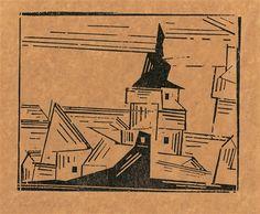 Lyonel Feininger Gelbe Dorfkirche 2            Artwork by Lyonel Feininger, Gelbe Dorfkirche 2, Made of Woodcut on Japan paper Dimensions:  6.46 X 7.95 in (16.4 X 20.2 cm) Medium:  Woodcut on Japan paper Creation Date:  1921 Signed