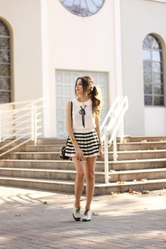 FashionCoolture - 20.04.2016 look du jour black and white preppy outfit stripes oxford (1)