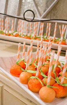 Easy Pumpkin Cake Pops. Use oreo cookies, cream cheese, and dip in orange colored chocolate bark