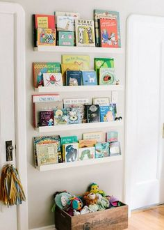 Beautiful nursery shelf ideas.