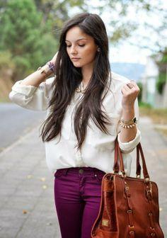 Burgundy Jeans,Leather Handbag and Oversized Shirt