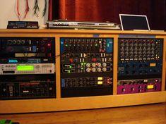 nice recording studio rack! API, Chandler, Neve, Purple Audio, Distressors, Drawmer 1969, Manley, Roland Chorus Echo, and more.