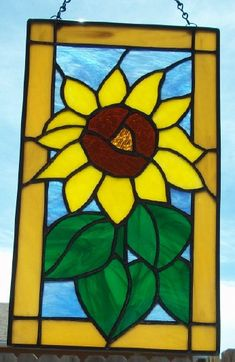 STAINED GLASS - Big Yellow Sunflower Stained Glass Window Panel Suncatcher