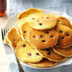Cornmeal Pancakes Recipe -I like to joke that these pancakes are so light, you have to hold them down! When we have a chance, we'll make them with freshly ground cornmeal bought at local festivals. —Betty Claycomb, Alverton, Pennsylvania