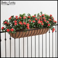 Make your next deck rail planter a hayrack trough. Coco-lined iron garden contai… Make your next deck rail planter a hayrack trough. Coco-lined iron garden containers look exquisite as railing planter boxes installed along a deck or porch.