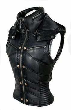 Cool Leather Vest Outfit, Dauntless Clothes, Black Leather Corset, Catwoman Cosplay, Dark Fashion, Gothic Fashion, Apocalypse, High Collar, Ropa Heavy