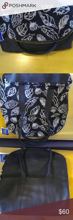 Pendleton Wool and Leather Fold Over Bag New with Tags Pendleton Wool and Leather Fold Over Bag with straps.  Black and creme Pendleton Bags Totes