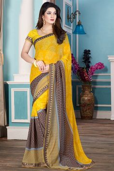Casual Wear Yellow And Brown Color Printed Saree