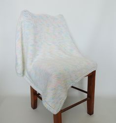 Knit Baby Blanket Afghan White Blue Pink by KnitKnacksCreations
